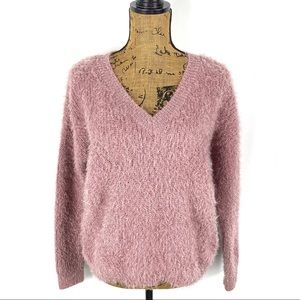 Pink Rose Eyelash Knit Fuzzy V-neck Sweater
